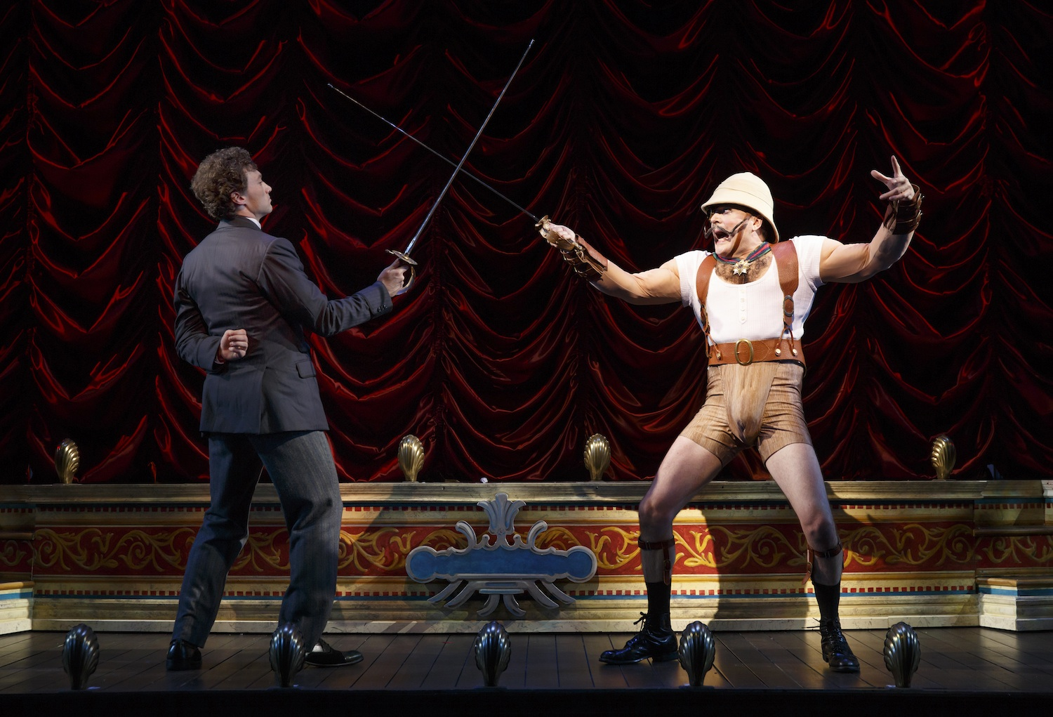 "This theater image released by The O+M Company shows Bryce Pinkham, left, and Jefferson Mays during a performance of ""A Gentleman's Guide to Love and Murder,"" at the Walter Kerr Theatre in New York. (AP Photo/The O+M Company, Joan Marcus)"